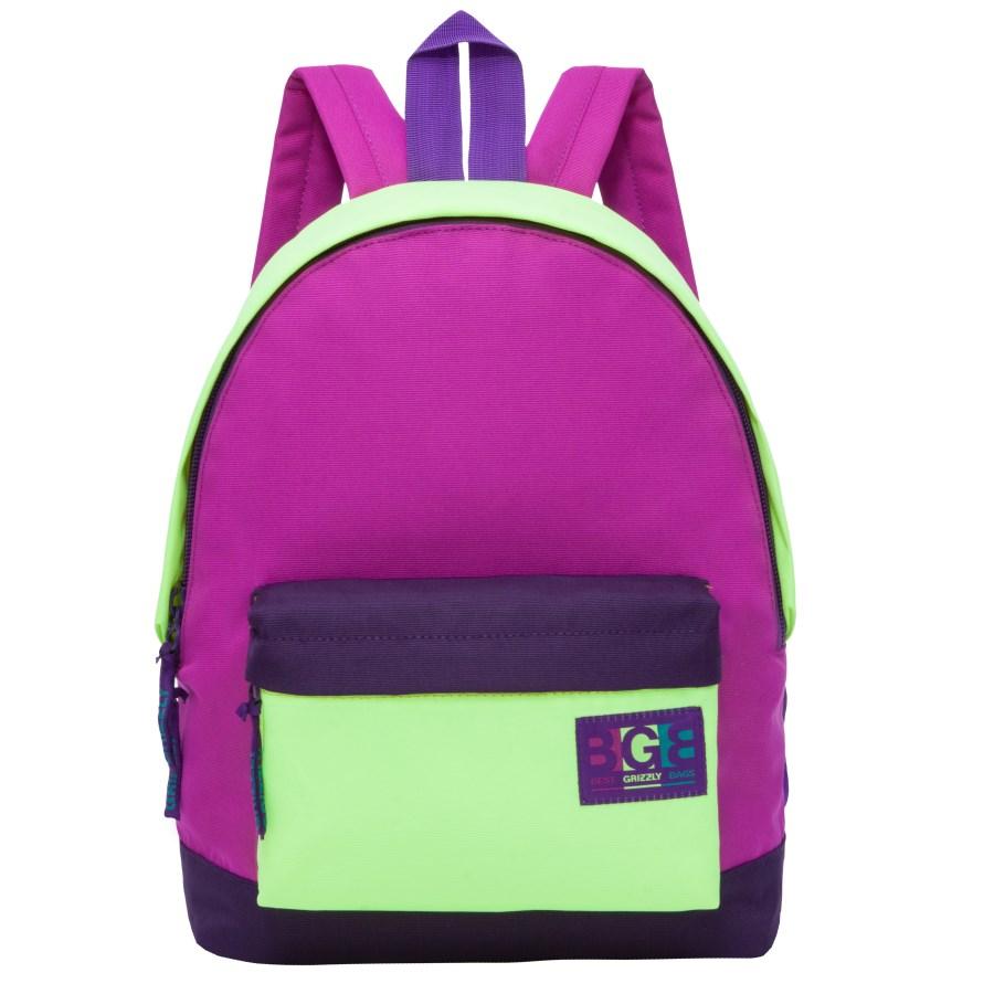Рюкзак городской женский Grizzly, цвет: фиолетовый, салатовый. RD-750-4/3BP-001 BKРюкзак городской Grizzl выполнен из высококачественного нейлона в сочетании с полиэстером. Рюкзак имеет ручку-петлю для подвешивания и две удобные лямки, длина которых регулируется с помощью пряжек. Модель имеет одно основное отделение на молнии, с внутренним подвесным карманом. Передняя сторона оформлена объемным карманом на застежке- молнии. Тыльная сторона рюкзака имеет укрепленную спинку.