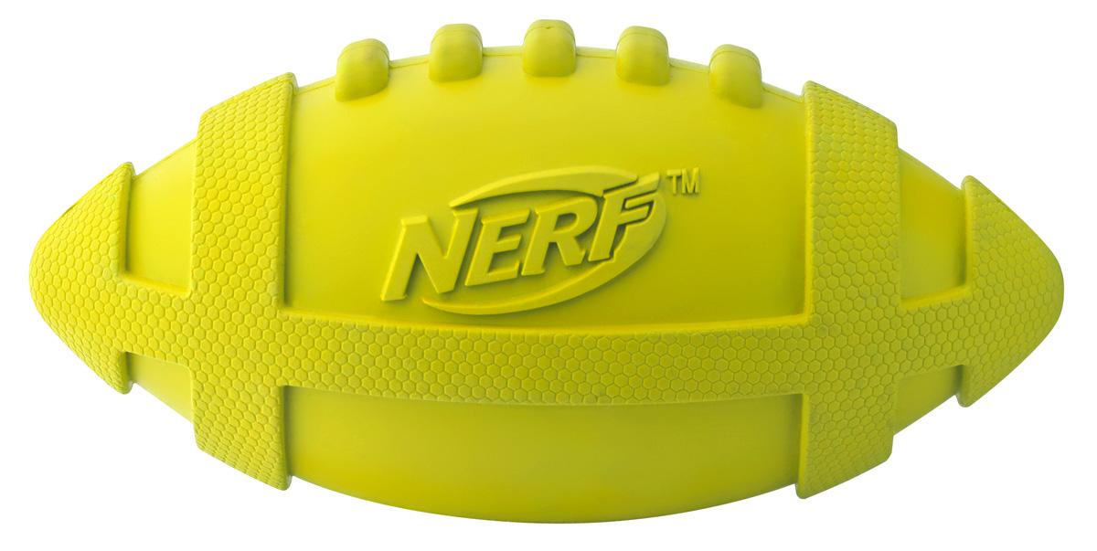 Игрушка для собак Nerf Мяч для регби, пищащий, 17,5 см0120710Мяч-регби из сверхпрочной резины!Подходит для собак с самой мощной челюстью! Оптимален для игры с собакой и отработки команды АпортВысококачественные прочные материалы, из которых изготовлена игрушка, обеспечивают долговечность использования!Звук мяча дополнительно увлекает собаку игрой!Яркие привлекательные цвета!Игрушки Nerf Dog представлены в различных сериях в зависимости от рисунка, фактуры и материала, из которого они изготовлены (резина, ТПР, нейлон, пластик, каучук).Размер: 17,5 см, M.