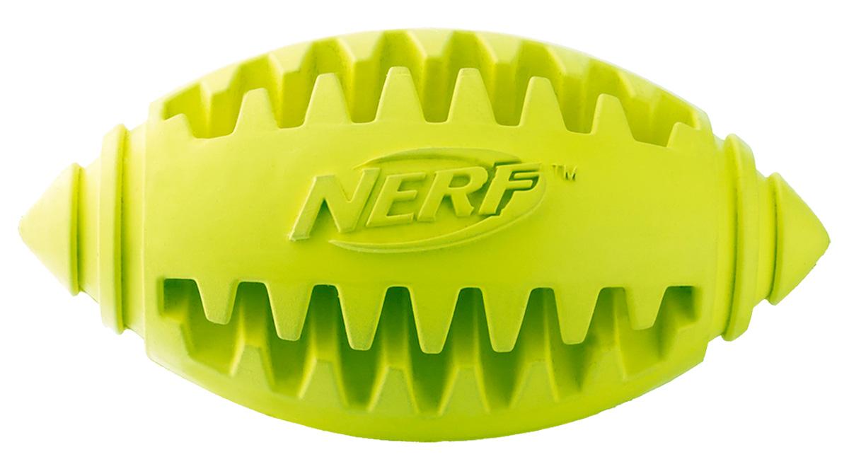 Игрушка для собак Nerf Мяч для регби, рифленый, 10 см22361Мяч-регби из сверхпрочной резины для удовлетворения жевательных инстинктов вашего питомца! Оптимален для игры с собакой дома и на свежем воздухе! Подходит собакам с самой мощной челюстью! Высококачественные прочные материалы, из которых изготовлена игрушка, обеспечивают долговечность использования! В выемки возможно поместить любимые лакомства вашего питомца для большей заинтересованности в игре и для усиления охотничьего инстинкта! Яркие привлекательные цвета! Игрушки Nerf Dog представлены в различных сериях в зависимости от рисунка, фактуры и материала, из которого они изготовлены (резина, ТПР, нейлон, пластик, каучук). Размер: 10 см, M.