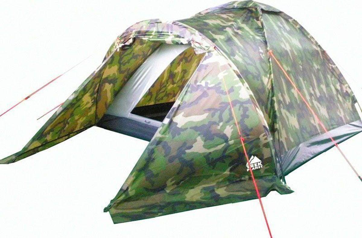 Палатка четырехместная Trek Planet Forester 4, цвет: камуфляжАМNB-503Однослойная камуфляжная четырехместная палатка Trek Planet Forester 4 станет необходимым атрибутом похода, рыбалки или охоты. Благодаря камуфляжной расцветке, не привлекает лишнего внимания на природе. Большое преимущество этой палатки в том, что в ней есть удобный тамбур, куда можно убрать вещи и обувь.Особенности модели:Палатка легко и быстро устанавливается,Палатка оснащена вместительным и защищенным от непогоды тамбуром, Тент палатки из полиэстера, с пропиткой PU, надежно защитит от дождя и ветра, все швы проклеены,Каркас выполнен из прочного стеклопластика,Дно изготовлено из прочного армированного полиэтилена, Вентиляционное окно сверху палатки не дает скапливаться конденсату на стенках палатки,Москитная сетка на входе в спальное отделение в полный размер двери,Удобная D-образная дверь на входе в палатку,Внутренние карманы для мелочей,Возможность подвески фонаря в палатке.Для удобства транспортировки и хранения предусмотрен чехол с двумя ручками, закрывающийся на застежку-молнию.Характеристики:Количество мест: 4Цвет: камуфляж.Размер: 240 см х (210+120) см х 130 см.Размер в сложенном виде: 13 см х 13 см х 65 см.Материал внешнего тента: 100% полиэстер, пропитка PU.Водостойкость: 1000 мм.Материал пола: 100% армированный полиэтилен.Материл дуги: стекловолокно 8,5 мм.Вес палатки: 3,5 кг.