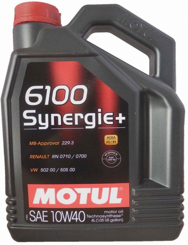 Масло моторное Motul 6100 Synergie+. Technosynthese, синтетическое, 10W-40, 4 л101491Моторное масло для бензиновых и дизельных двигателей Technosynthese. Моторное масло специально разработанное для новых мощных автомобилей, с большой литровой мощностью. Турбо-дизельные двигатели с непосредственным впрыском, бензиновые двигатели с инжектором и каталитическим конвертором. Совместимо со всеми типами топлива: бензин (этилированный/неэтилированный), дизельное топливо, газ. Перед применением всегда сверяйтесь с руководством по эксплуатации автомобиля. ACEA Стандарты: ACEA A3/B4 API Стандарты: API SN/CF Одобрения: MB-Approval 229.3; VW 502 00 / 505 00; Renault RN 0710 / 0700; PSA B71 2300
