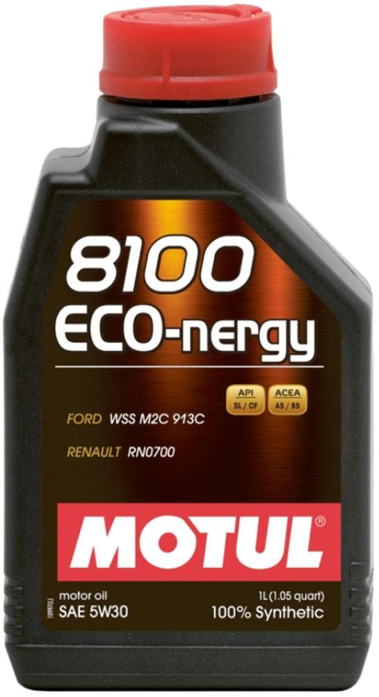 Масло моторное Motul 8100 Eco-Nergy, синтетическое, 5W-30, 1 л102782100% синтетическое моторное масло для бензиновых и дизельных двигателей. Энергосберегающее. Энергосберегающее 100% синтетическое моторное масло. Специально разработано для мощных современных бензиновых и дизельных двигателей автомобилей, в том числе с непосредственным впрыском, для которых предусмотрено использование масел с низкой высокотемпературной вязкостью в условиях высоких скоростей сдвига (HTHS). Предназначено для бензиновых и дизельных двигателей, созданных по новым технологиям, для которых предписаны масла Fuel Economy (ACEA A1/B1 и А5/В5). Совместимо с системами нейтрализации отработавших газов. ACEA Стандарты: ACEA A5/B5 API Стандарты: API SL/CF Одобрения: FORD WSS M2C 913D; Jaguar Land Rover STJLR.03.5003; Renault RN0700