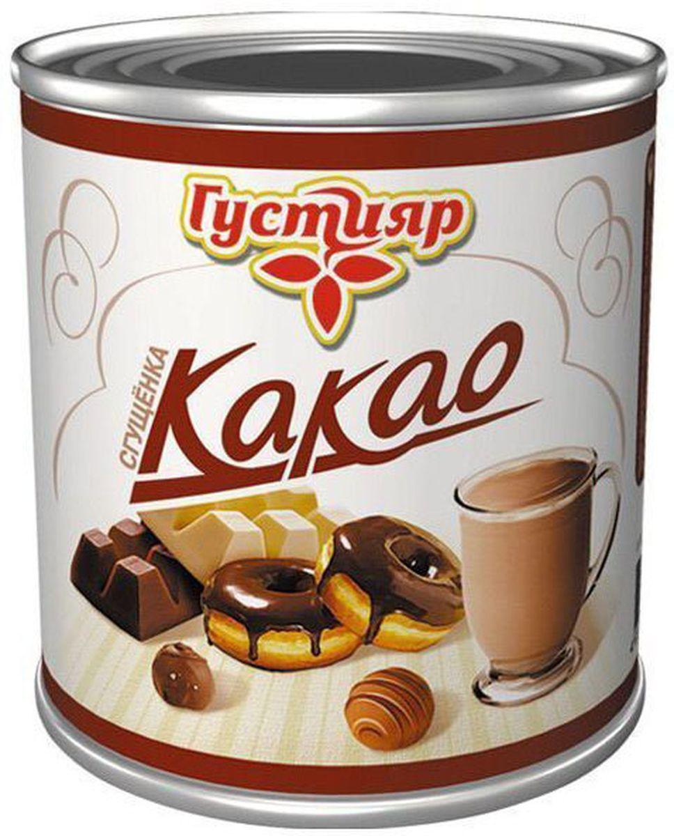 Союзконсервмолоко Густияр молоко сгущенное с какао, 380 г6511Сгущенное молоко с какао 8.5% Густияр. Сладкий вкус, свойственный сгущенному молоку с сахаром, однородная масса без комочков, коричневого цвета. Пищевая ценность на 100 г продукта: жира- 8.5 г, белка - 4 г, углеводов - 56 г. Энергетическая ценность - 320 Ккал.