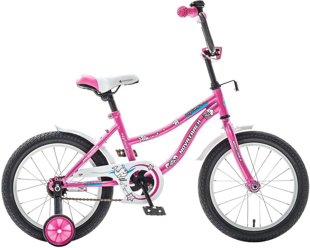 Велосипед детский Novatrack Neptune, цвет: розовый, 16ВН12075ККNovatrack Neptun 16'' – это отличный подарок для ребенка 5-7 лет. Эта модель объединяет в себе привлекательный дизайн, легкость, отличную управляемость и универсальность. Ваш ребенок будет просто счастлив, став обладателем такой замечательной техники. Novatrack Neptun 16'' полностью подготовлен для того, чтобы маленьким велосипедистам было комфортно и интересно учиться самостоятельно кататься. Яркий дизайн, регулируемые сидение и руль с надежной фиксацией, защита цепи, велосипедный звонок, мягкие накладки на руле, катафоты, стильные укороченные крылья - все продумано до мелочей.