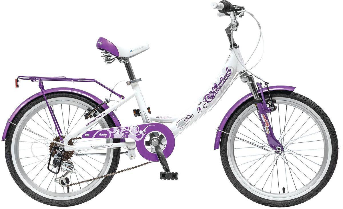 """Велосипед детский Novatrack Girlish Line, цвет: белый, бордовый, 2020AH6V.GIRLISH.WT5Novatrack Girlish Line 20'' – это яркий, простой в управлении и неприхотливый в обслуживании велосипед для девочек 7-10 лет. С первого взгляда можно понять, что это не просто велосипед, а средство передвижения настоящей леди с тонким вкусом. Модель достаточно легкая, но прочная и надежная благодаря алюминиевой раме. Большие колеса 20"""", седло с пружинами и амортизаторы на передней вилке обеспечат мягкую езду даже по неровной дороге. 6 скоростей позволят выбрать оптимальный режим для спуска или подъема в горку. Надежное торможение гарантирует передний ручной тормоз, но для большей надежности он продублирован еще и задним тормозом, тоже ручным. Светоотражатели обозначат местоположение велосипеда в сумерках, что важно для безопасности ребенка, а специальный кожух защитит ноги и одежду ребенка от соприкосновения с цепью. Удлиненные крылья снабжены брызговиками, позволяющими сохранить одежду чистой, даже если на пути встретится лужа. Качество сборки гарантирует абсолютную надежность...."""