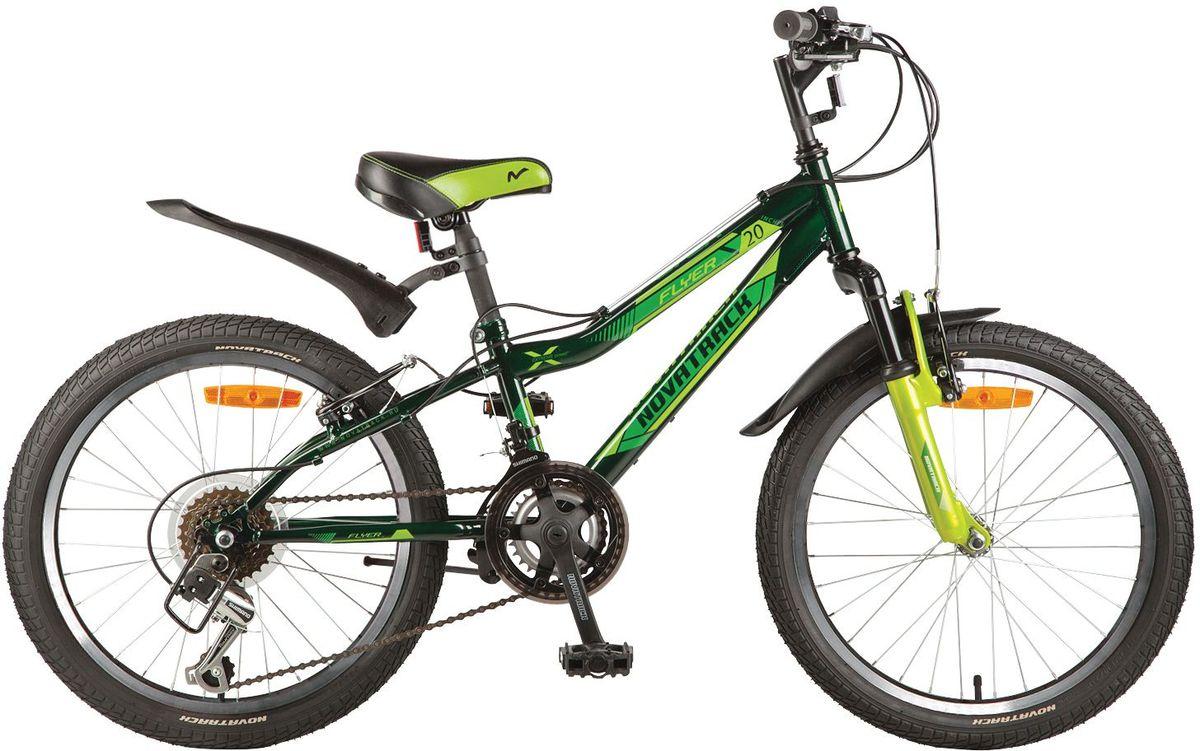 Велосипед детский Novatrack Flyer, цвет: зеленый, 2020SH12V.FLYER.GN7Велосипед Novatrack Flyer 20''- это велосипед для ребят 7-10 лет, коорый позволит легко освоить азы катания на скоростном велосипеде. Привлекательный дизайн, надежная сборка, легкость и отличная управляемость – это еще не все плюсы данной модели. Велосипед укомплектовали мягким регулируемым седлом, которое обеспечит удобную посадку во время катания. Руль велосипеда также регулируется по высоте и наклону, благодаря чему велосипед прослужит ребенку не один год. 12-скоростей, которые очень просто переключать, превратят любую поездку в увлекательный процесс. Передний амортизатор превращает велосипед в настоящий байк-внедорожник, который готов покорять городские дворы и парки. Для безопасности на велосипед установлены светоотражатели: на переднем и заднем колесе, а также на руле и подседельном штыре. Надежные тормоза типа V-brake позволят быстро затормозить в необходимый момент.