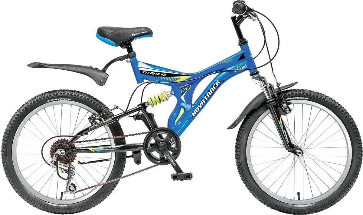 Велосипед детский Novatrack Titanium, цвет: синий, 2020SS6V.TITANIUM.BL5Если ваше чадо подросло и уже неодобрительно относится к детским велосипедам, то обратите внимание на новинку - Novatrack Titaniun 20''. Это настоящий горный велосипед для ребят 7-10 лет. На 20-дюймовых колесах можно кататься не только во дворе, но и по более сложным маршрутам – ухабистым парковым тропинкам, небольшим горкам, где езда без амортизаторов была бы не простой. Велосипед оснащен передним и задним ручным тормозом, которые при синхронной работе обеспечивают наилучшее торможение при спуске с наклонной поверхности, а одна из шести скоростей помогает легко преодолеть сложный подъем. Переключение передач очень нравится мальчишкам, во-первых – это атрибут велосипедов для «знатоков» велоспорта, коим ваше чадо быстрее мечтает стать, во-вторых, ребенок учится анализировать ситуацию и выбирать соответствующую скорость для комфортной езды. С велосипедом Novatrack Titaniun 20'' ваш ребенок точно не засидится дома, а будет активно двигаться на свежем воздухе, эффективно укрепляя мышцы,...
