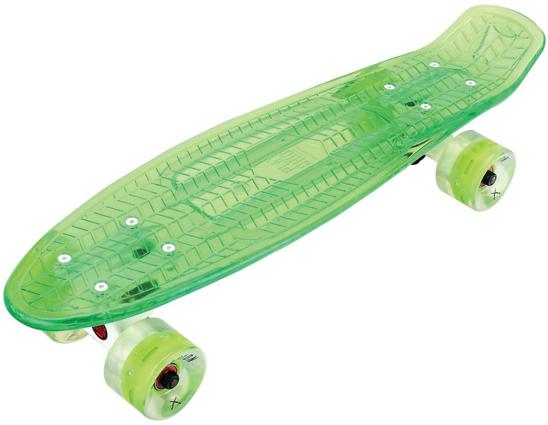 Лонгборд Playshion, 22FS-PS002GСкейтборд пластиковый прозрачный PLAYSHION - компактный скейтборд с отличной управляемостью, предназначенный для райдеров любых возрастов. Основной особенностью скейтборда является то, что у него стильная полупрозрачная дека. А небольшой вес скейтборда делает его маневренным и лёгким при транспортировке. Скейтборд подходит для скейтеров от 6 лет и весом до 120 кг. Размер доски 22 дюйма = 55 см. Дека скейтборда сделана из полипропилена 1 сорта, поэтому он практически не поддается поломке. Полиуретановые колёса, алюминиевая подвеска, а так же рифленый верх платформы обеспечат надёжную устойчивость и безопасность райдера во время катания.