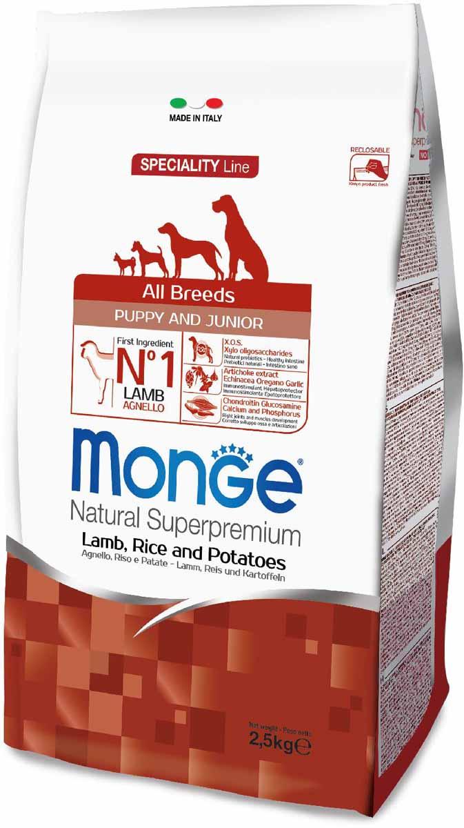 Корм сухой Monge Dog Speciality Puppy&Junior, для щенков всех пород, с ягненком, рисом и картофелем, 2,5 кг70011181Monge Dog Speciality Puppy&Junior с ягненком, рисом и картофелем, 2,5 кг. Полнорационный корм предназначен для щенков и молодых собак всех пород в возрасте от 2 до 12 месяцев, а также в период беременности и лактации. Идеально подходит для собак, нуждающихся в питании с низким содержанием холестерина. Ингредиенты, входящие в состав, помогают бороться с аллергическими реакциями и воспалениями и подходит для собак с проблемами пищеварения. Входящие в состав ФОС (фруктоолигосахариды) поддерживают здоровую микрофлору кишечника. Мясо ягненка и рис - это гарантия правильного усвоения белков и углеводов. Высокое содержание сбалансированных омега-3 и омега-6 жирных кислот, цинка и биотина обеспечивает блестящую шерсть и здоровую кожу питомца. Глюкозамин, хондроитин и МСМ благотворно влияют на здоровье суставов и всего костного аппарата, помогают предотвратить возникновение болезней суставов. Анализ компонентов: сырой белок 30,00%, сырые масла и жиры 18,00%, сырая...