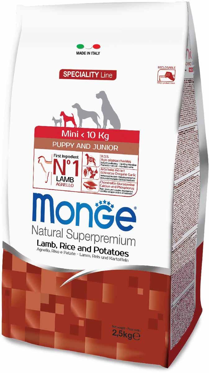 """Корм сухой Monge """"Dog Speciality Mini"""", для щенков мелких пород, с ягненком, рисом и картофелем, 2,5 кг 70011525"""