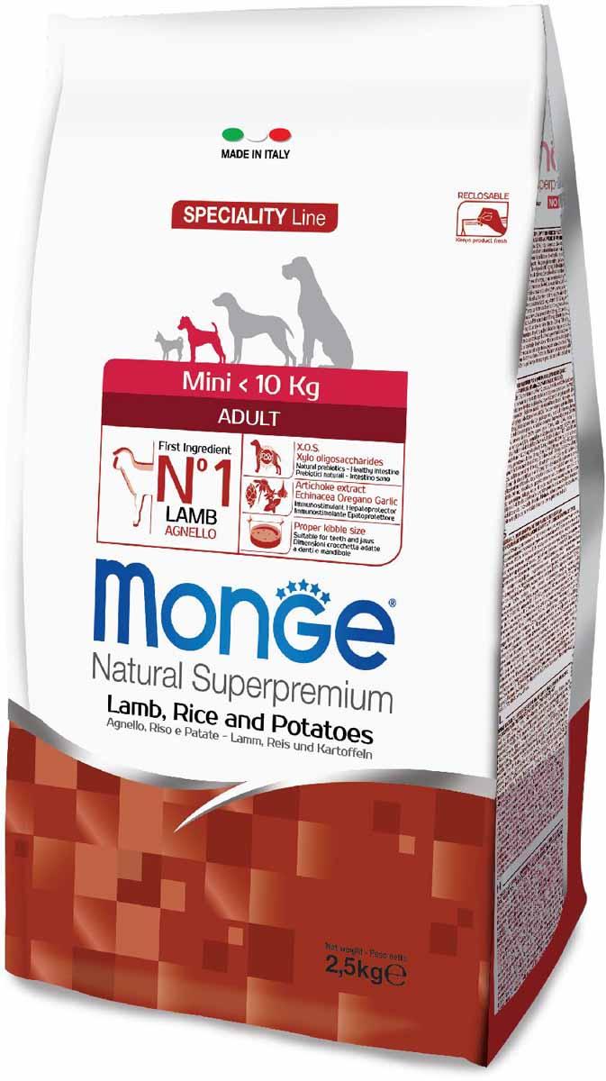 """Корм сухой Monge """"Dog Speciality Mini"""", для взрослых собак мелких пород, с ягненком, рисом и картофелем, 2,5 кг 70011549"""