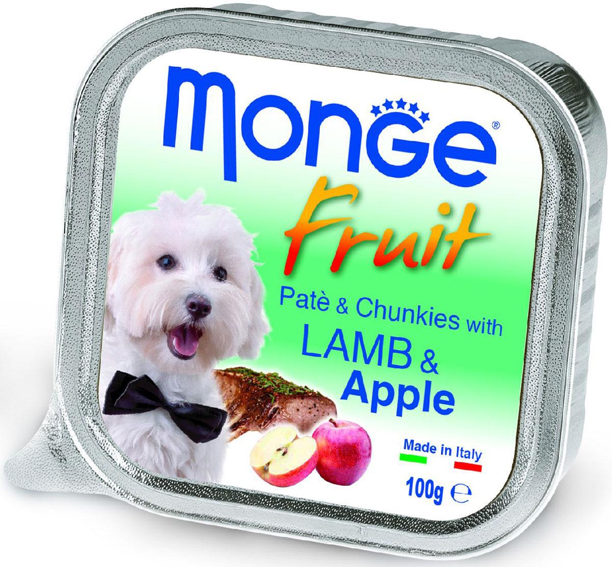 Консервы Monge Dog Fruit, для собак, с ягненком и яблоком, 100 г70013222Monge Dog Fruit консервы для собак, ягненок с яблоком, 100 г. Полнорационный корм для собак. Паштет с ягне нком и яблоком. Рекомендации по кормлению: для собак средних пород минимум 400 граммов продукта в день. Подавать корм комнатной температуры. Убедитесь, что у собаки есть доступ к свежей чистой воде. Хранить при комнатной температуре, после вскрытия-в холодильнике. Гарантированный анализ: сырой белок 8,5%, сырые масла и жиры 7%, сырая зола 2,2%, сырая клетчатка 0,5%. Влажность 80%. Пищевые добавки/кг: витамин А 3000 МЕ, витамин D3 400 МЕ, витамин Е 15 мг. Ингредиенты: свежее мясо 80% (из которого мяса ягненка мин. 10%), яблоко 4%, минеральные вещества, витамины. Технологические добавки: загустители и желеобразующие компоненты. Рекомендации по кормлению: продукт подавать комнатной температуры или подогретый. ВАЖНО, чтобы животное всегда имело доступ к чистой, свежей воде. Собакам мелких пород необходимо минимум 400г продукта в день. Количество корма...