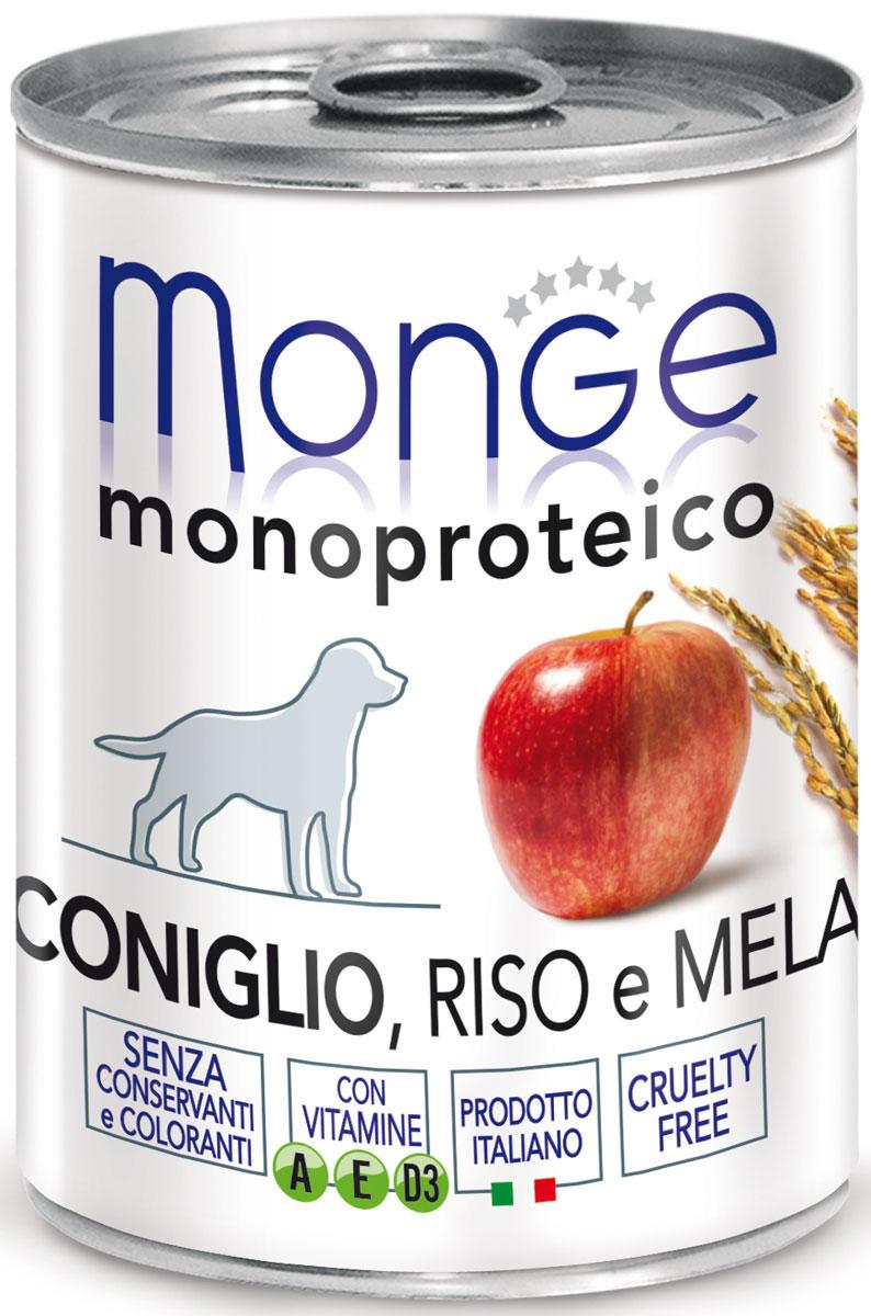 Консервы Monge Dog Monoproteico Fruits, для собак, паштет из кролика с рисом и яблоками, 400 г70014328Monge Dog Monoproteico Fruits консервы для собак, паштет из кролика с рисом и яблоками, 400 г. Полнорационный корм для собак. Паштет из кролика с рисом и яблоками. Гарантированный анализ: сырой белок 8,5%, сырые масла и жиры 5,8%, сырая зола 2%, сырая клетчатка 0,8%, влажность 80%. Пищевые добавки/кг: витамин А 2500 МЕ, витамин D3 300 МЕ, витамин Е (альфа-токоферол 91%) 7 мг. Ингредиенты: свежее мясо кролика 100%, злаки (рис 4,2%), кусочки яблока (4,1%), сухой экстракт яблока (0,5%), минеральные вещества, витамины. Технологические добавки: загустители и желеобразующие компоненты. Не содержит красителей, консервантов иглютена. Рекомендации по кормлению: собакам мелких пород необходимо около 400 г продукта в день. Количество корма может варьироваться в зависимости от индивидуальных потребностей животного. Продукт подавать комнатной температуры или подогретый. Важно, чтобы животное всегда имело доступ к чистой, свежей воде. Открытую упаковку хранить в...