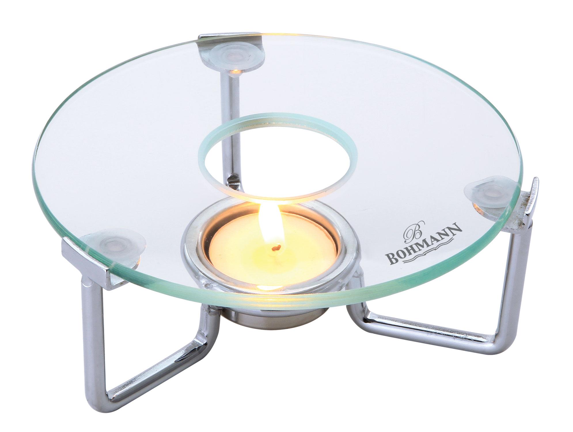 Мармит-подставка Bohmann, для чайника, цвет: прозрачный201BHПодставка-мармит для подогрева чайника. Термостойкая стеклянная подставка. Стекло можно заменить, легко мыть. Не ржавеет. Глянцевая хромированная рамка с 1 держателем для греющей свечи. Размер: 15 х 15 х 5 см.