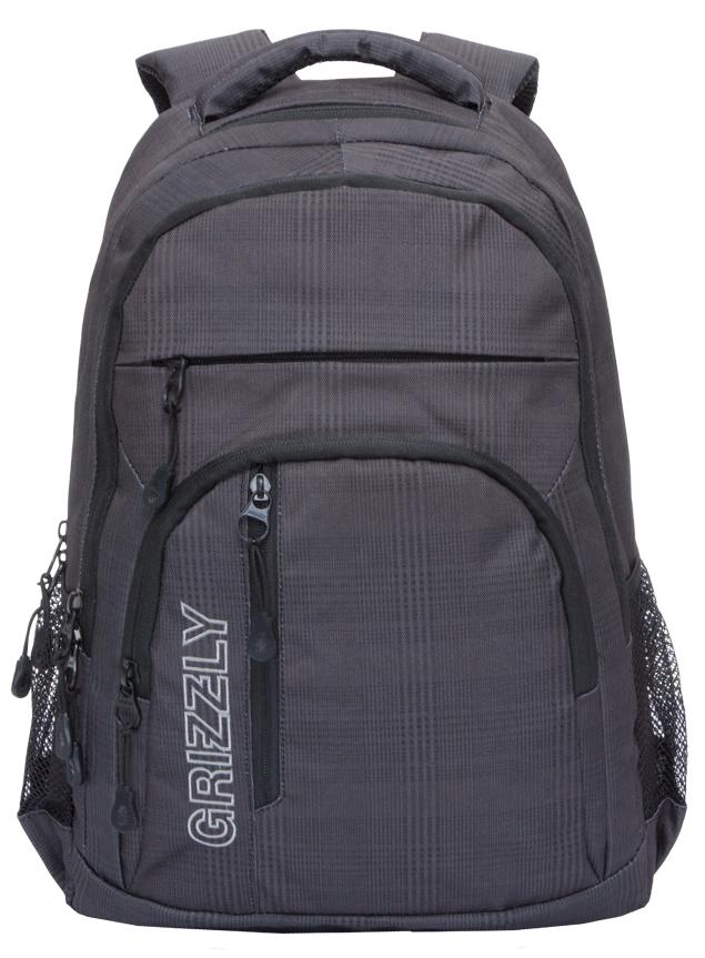Рюкзак городской мужской Grizzly, цвет: темно-серый, черный. RU-707-2/2ЛЦ0046Рюкзак городской Grizzl выполнен из высококачественного полиэстера. Рюкзак имеет ручку-петлю для подвешивания и две укрепленные лямки, длина которых регулируется с помощью пряжек. Модель имеет два основных отделения, которые дополнены карманом-пеналом для карандашей, подвесным карманом на молнии и укрепленным карманом для ноутбука. Передняя сторона оснащена объемным карманом на молнии и двумя втачными карманами. Боковые стенки дополнены карманами из сетки. Тыльная сторона рюкзака имеет анатомическую укрепленную спинку и нагрудную стяжку-фиксатор.