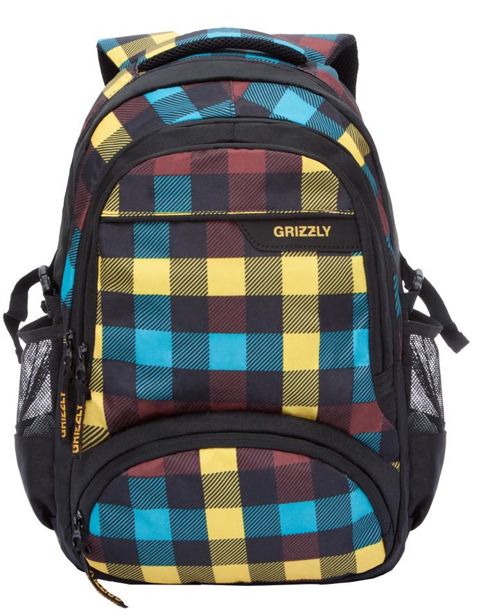 Рюкзак городской мужской Grizzly, цвет: желтый. RU-709-1/1RU-709-1/1Рюкзак молодежный, два отделения, два объемных кармана на молнии на передней стенке, боковые карманы из сетки, внутренний карман на молнии, внутренний укрепленный карман для ноутбука, укрепленная спинка, мягкая укрепленная ручка, укрепленные лямки