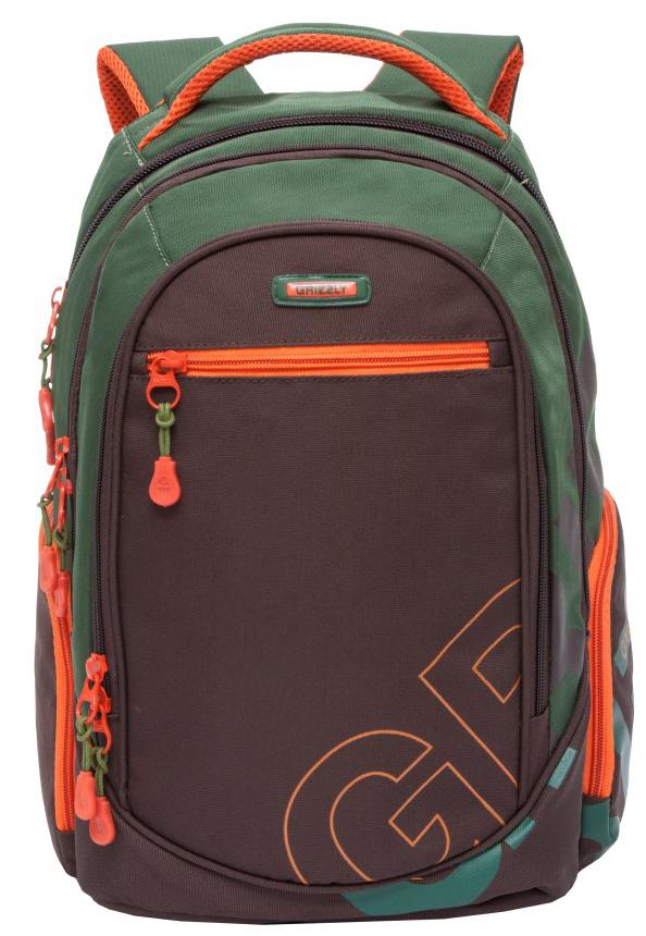 Рюкзак городской мужской Grizzly, цвет: зеленый, коричневый. RU-711-2/4BP-001 BKРюкзак городской Grizzl выполнен из высококачественного нейлона в сочетании с полиэстероми оформлен оригинальным принтом. Рюкзак имеет ручку-петлю для подвешивания и две удобные лямки, длина которых регулируется с помощью пряжек. Модель имеет три основных отделения, которые оснащены карманом-органайзером, внутренним подвесным карманом на молнии и еще одним кармашком.Спереди рюкзак оснащен втачным карманом на молнии, а по бокам двумя объемными кармашками на молнии.Тыльная сторона рюкзака имеет жесткую анатомическую спинку.