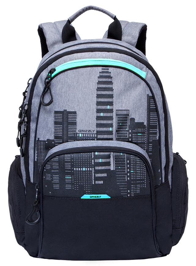 Рюкзак городской мужской Grizzly, цвет: черный, серый, голубой. RU-713-2/2BP-001 BKРюкзак городской Grizzl выполнен из сочетания высококачественного полиэстера с нейлоном и оформлен оригинальным принтом. Рюкзак имеет петлю для подвешивания и две удобные лямки, длина которых регулируется с помощью пряжек. Модель имеет два основных отделения на молнии, которые содержат внутренний карман-пенал для карандашей, внутренний карман под гаджет и карман на молнии. Также на лицевой стороне находятся верхний карман быстрого доступа и накладной карман на застежке-молнии. Рюкзак оснащен двумя боковыми карманами на молнии. Внешняя сторона дополнена анатомической спинкой.