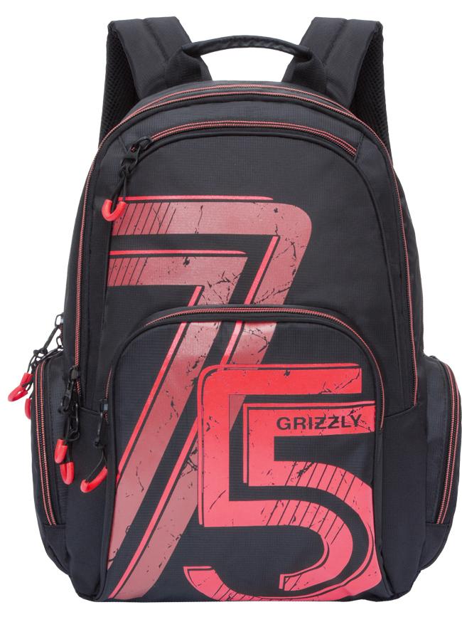 Рюкзак городской мужской Grizzly, цвет: черный, красный. RU-713-3/1K60K602638_4370Рюкзак городской Grizzl выполнен из высококачественного нейлона и оформлен оригинальным принтом. Рюкзак имеет петлю для подвешивания и две удобные лямки, длина которых регулируется с помощью пряжек. Модель имеет два основных отделения на молнии, которые содержат внутренний карман-пенал для карандашей, внутренний карман под гаджет и карман на молнии. Также на лицевой стороне находятся верхний карман быстрого доступа и накладной карман на застежке-молнии. Рюкзак оснащен двумя боковыми карманами на молнии. Тыльная сторона рюкзака дополнена анатомической спинкой.
