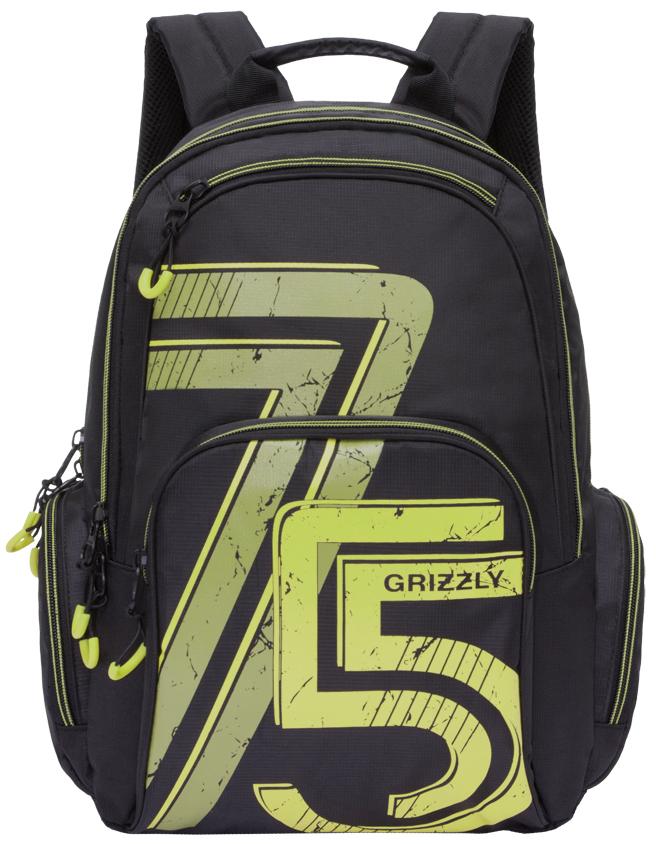 Рюкзак городской мужской Grizzly, цвет: черный, зеленый. RU-713-3/3D-238/23Рюкзак городской Grizzl выполнен из высококачественного нейлона и оформлен оригинальным принтом. Рюкзак имеет петлю для подвешивания и две удобные лямки, длина которых регулируется с помощью пряжек. Модель имеет два основных отделения на молнии, которые содержат внутренний карман-пенал для карандашей, внутренний карман под гаджет и карман на молнии. Также на лицевой стороне находятся верхний карман быстрого доступа и накладной карман на застежке-молнии. Рюкзак оснащен двумя боковыми карманами на молнии. Тыльная сторона рюкзака дополнена анатомической спинкой.