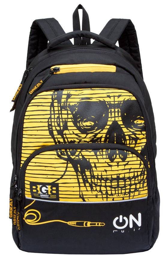 Рюкзак городской мужской Grizzly, цвет: желтый. RU-715-2/1RU-715-2/1Рюкзак молодежный с двумя отделениями, передними, боковыми, внутренним и карманом-пеналом, укрепленными лямками и спиной, ручкой для переноски и ручкой-вешалкой.