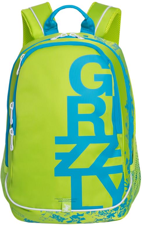 Рюкзак городской мужской Grizzly, цвет: салатовый, голубой. RU-724-1/32137-1 greyРюкзак городской Grizzl выполнен из высококачественного нейлона и оформлен оригинальным фирменным принтом. Рюкзак имеет петлю для подвешивания и две удобные лямки, длина которых регулируется с помощью пряжек. Изделие имеет два основных отделения, которые дополнены внутренним карманом-пенал и подвесным карманом на молнии. Рюкзак оснащен двумя боковыми карманами из сетки. Тыльная сторона дополнена анатомической укрепленной спинкой.