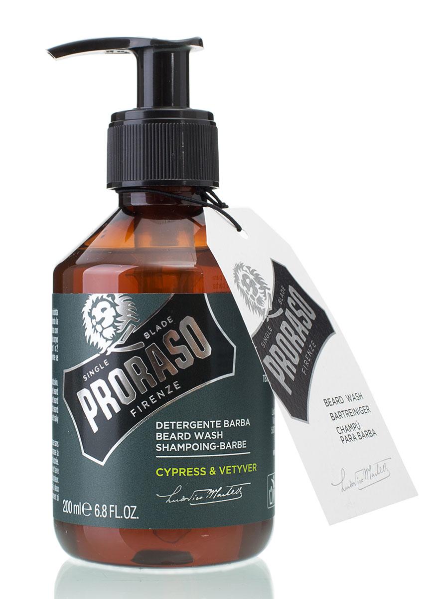 Proraso Шампунь для бороды Cypress & Vetyver 200 млKF1118Шампунь для бороды Proraso Cypress&Vetyver Beard Wash создан для мужчин, которые любят свою бороду и заботятся о ней. Это средство смягчает и выпрямляет волосы на бороде, а также качественно удаляет грязь и неприятные запахи. Аромат кипариса и ветивера подарят свежесть на целый день. Продукт не содержит силиконов и парабенов,а также прошел дерматологические тесты.