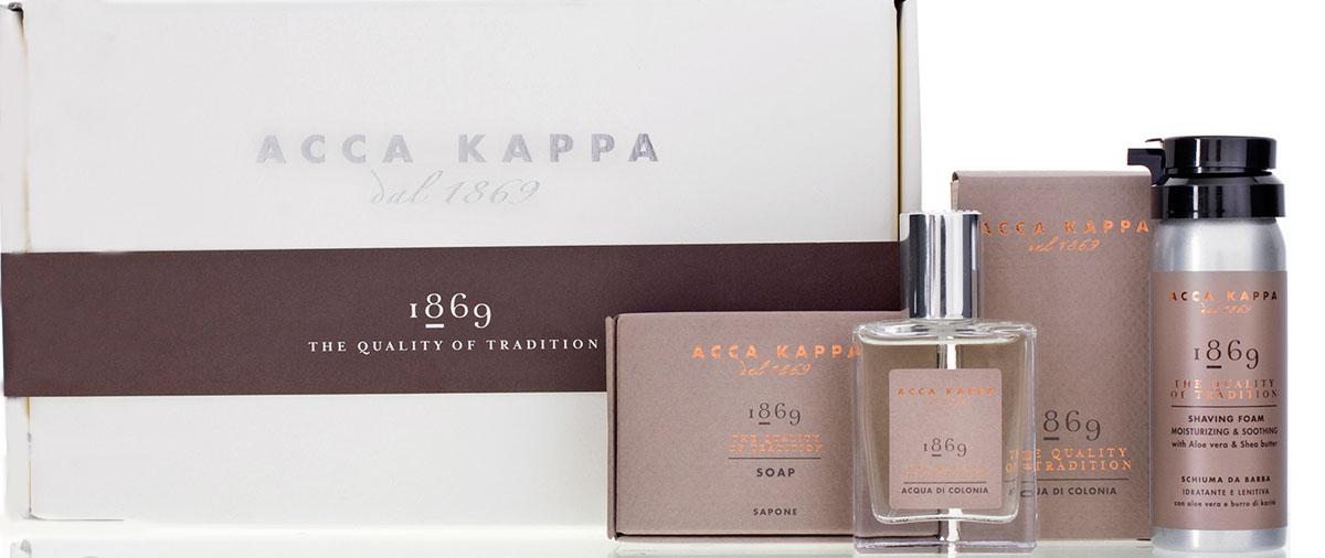 Acca Kappa Подарочный набор 1869 (одеколон 30 мл, пена для бритья 50 мл, мыло 100 гр)85974Подарочный набор 1869: одеколон 30 мл, пена для бритья 50 мл, мыло 100 гр