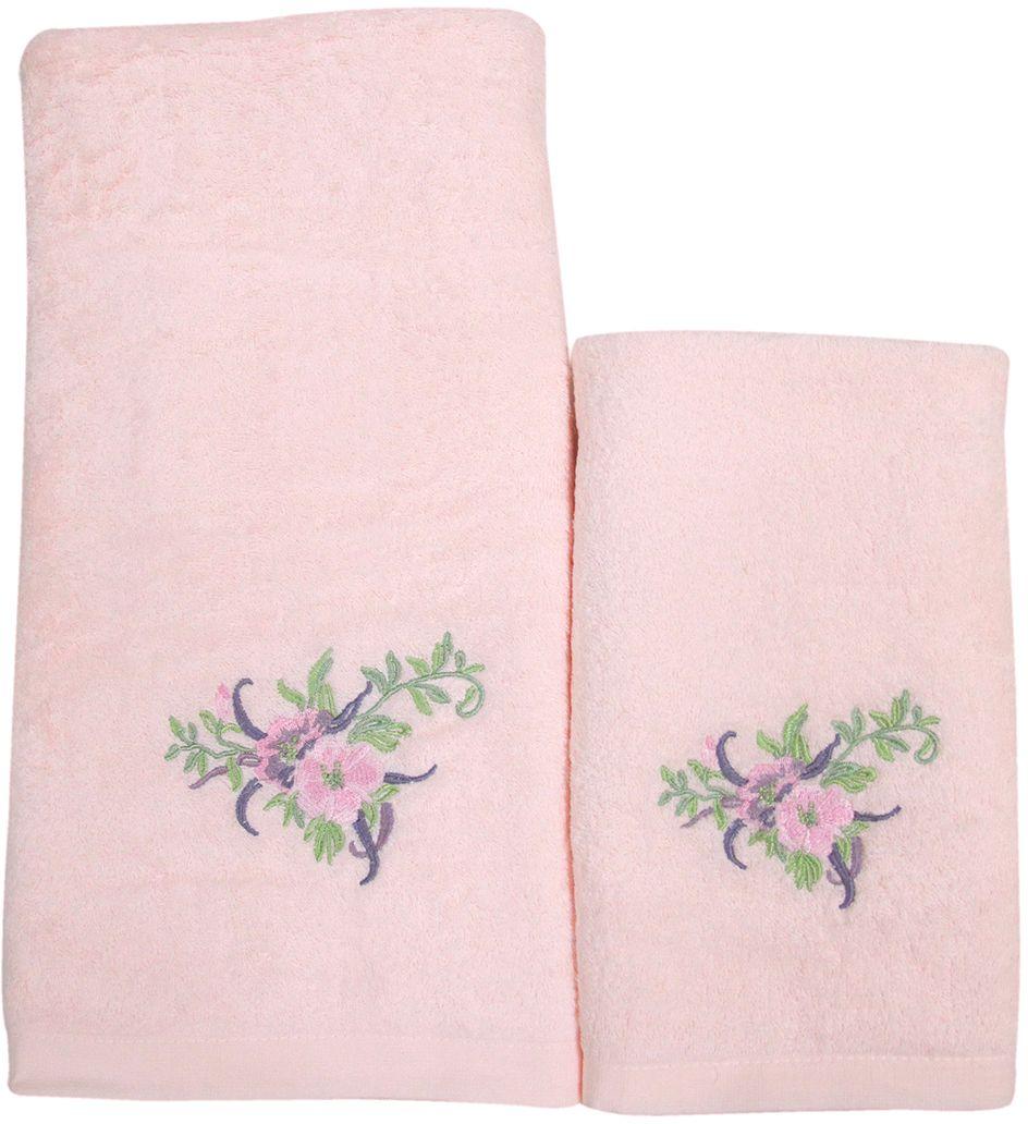 Набор махровых полотенец НВ Флорентина, цвет: розовый, 50 х 90 см, 70 х 140 см, 2 шт. м0521_0266402