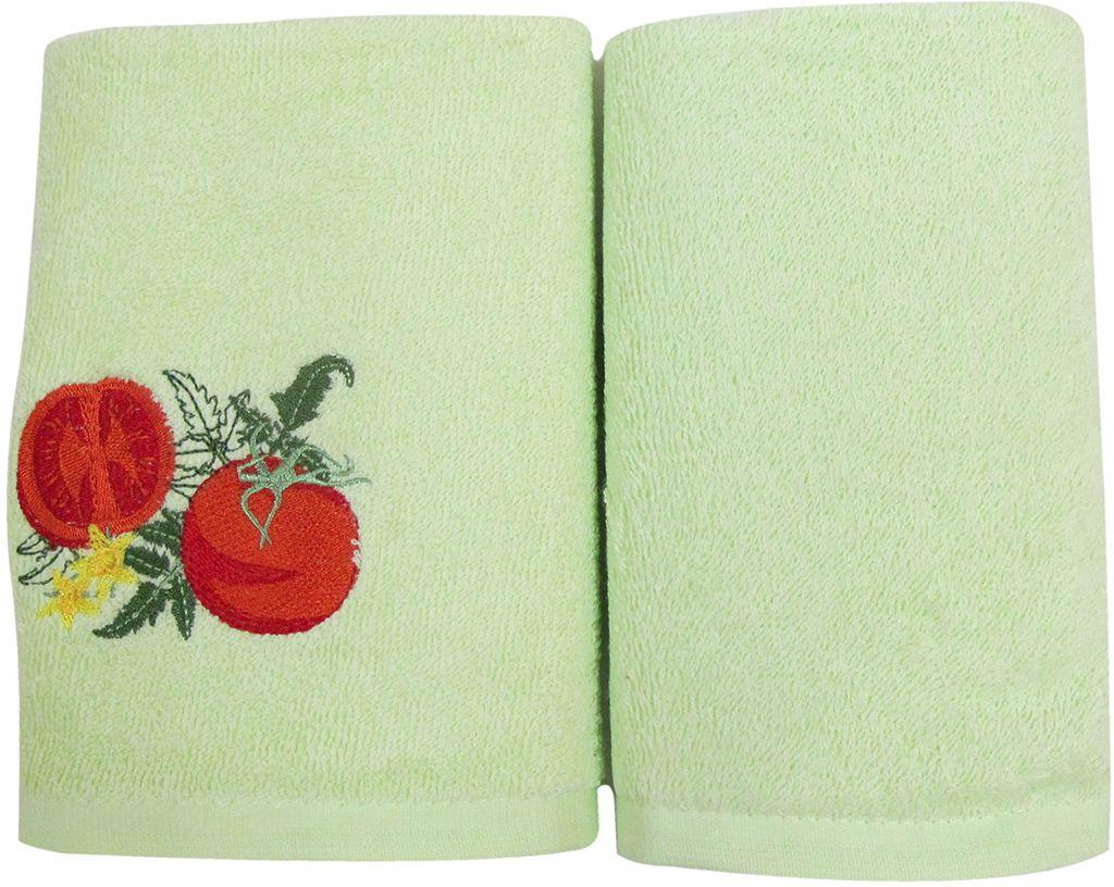 Набор махровых полотенец НВ Фрукты/овощи, цвет: зеленый, 30 х 50 см, 2 шт. м0571_0373026