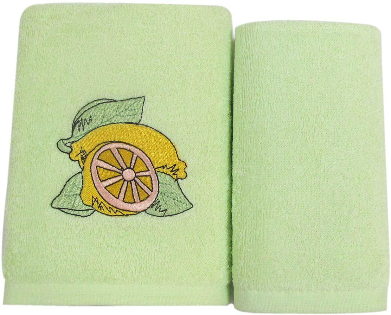 Набор махровых полотенец НВ Фрукты/овощи, цвет: зеленый, 30 х 50 см, 2 шт. м0573_0373029