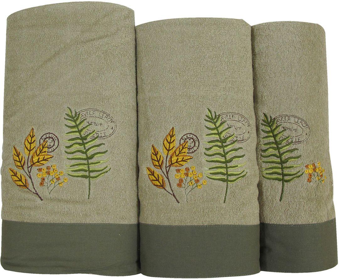 Набор махровых полотенец НВ Ботаника, цвет: зеленый, 30 х 50 см, 45 х 90 см, 65 х 130, 3 шт. м062078885