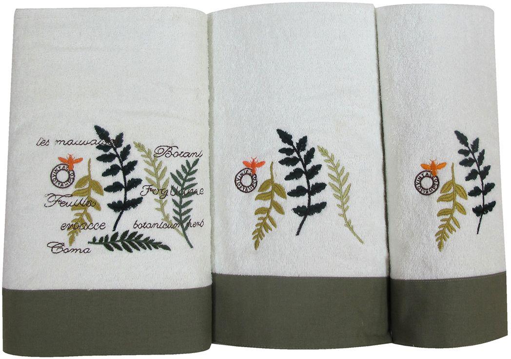 Набор махровых полотенец НВ Ботаника, цвет: зеленый, 30 х 50 см, 45 х 90 см, 65 х 130, 3 шт. м062178886