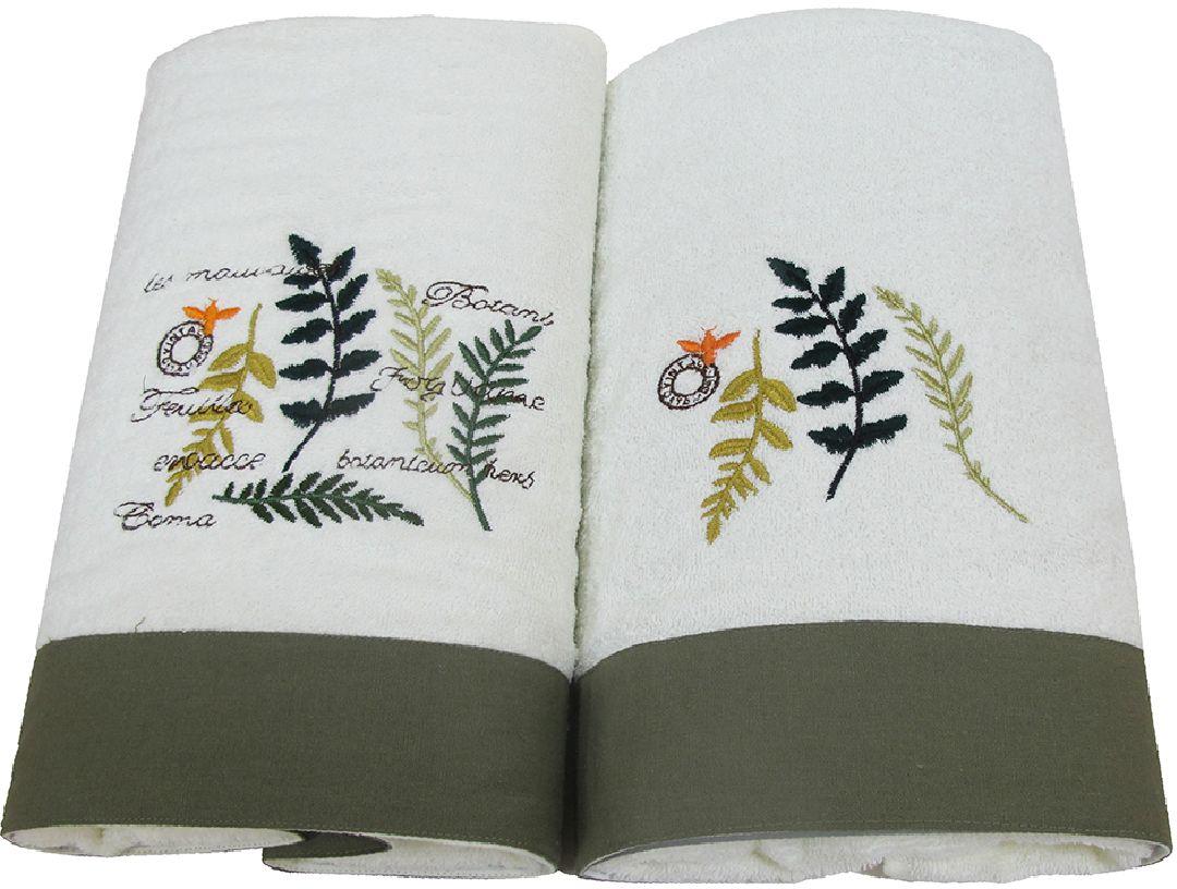Набор махровых полотенец НВ Ботаника, цвет: зеленый, 45 х 90 см, 65 х 130 см, 2 шт. м062578890