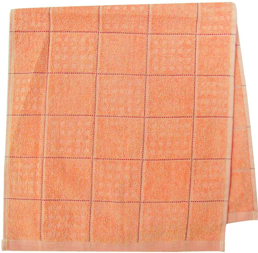 Полотенце махровое Bravo Квадро, цвет: персиковый, 33 х 70 см531-105Полотенце Квадро выполнено из натуральной махровой ткани (100% хлопок). Изделие отлично впитывает влагу, быстро сохнет, сохраняет яркость цвета и не теряет форму даже после многократных стирок. Полотенце очень практично и неприхотливо в уходе. Оно создаст прекрасное настроение и украсит интерьер в ванной комнате.