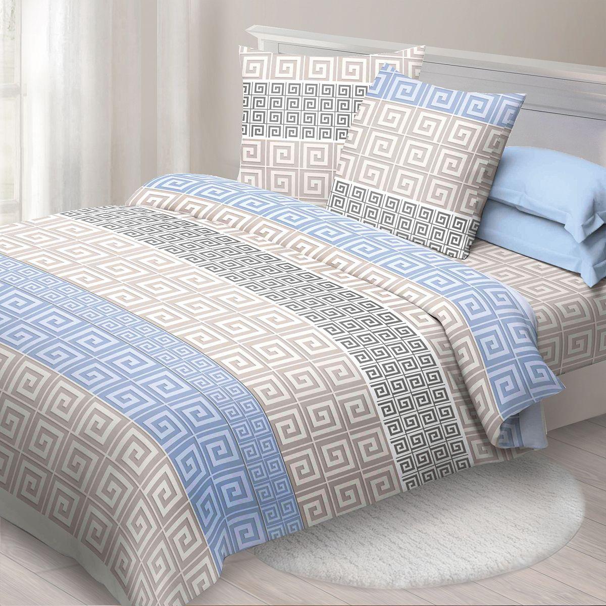 Комплект белья Спал Спалыч Меандр, 2-спальное, наволочки 70x70, цвет: голубой91328Спал Спалыч - недорогое, но качественное постельное белье из белорусской бязи. Актуальные дизайны, авторская упаковка в сочетании с качественными материалами и приемлемой ценой - залог успеха Спал Спалыча! В ассортименте широкая линейка домашнего текстиля для всей семьи - современные дизайны современному покупателю! Ткань обработана по технологии PERFECT WAY - благодаря чему, она становится более гладкой и шелковистой. • Бязь Барановичи 100% хлопок • Плотность ткани - 125 гр/кв.м.