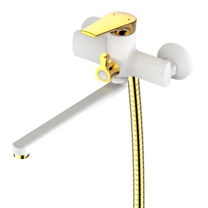 Смеситель для ванны РМС, с длинным изливом. SL122W-006E. Цвет: белый, золотистый68/5/2Смеситель для ванны с длинным изливомКартридж:керамический 35 ммЕвро-переключение на душПоворотный прямой изливАэратор: пластиковыйЦвет покрытия корпуса: черный+золотоВ комплекте: эксцентрики, отражатели, металлический шланг для душа 1,5 м, лейка для душа