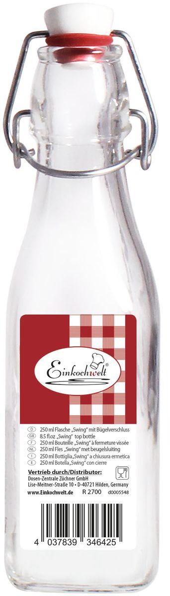 Бутылка Einkochwelt, с зажимом-клипсой, 250 мл. 346425VT-1520(SR)Бутылка Einkochwelt, выполненная из стекла, позволит украсить любую кухню, внеся разнообразие в кухонный интерьер. Она легка в использовании. Крышка плотно закрывается с помощью металлического зажима-клипсы, дольше сохраняя свежесть продуктов. Крышка оснащена силиконовым уплотнителем.Благодаря этому внутри сохраняется герметичность, и напитки дольше остаются свежими.Оригинальная бутылка будет отлично смотреться на вашей кухне.Объем: 250 мл.