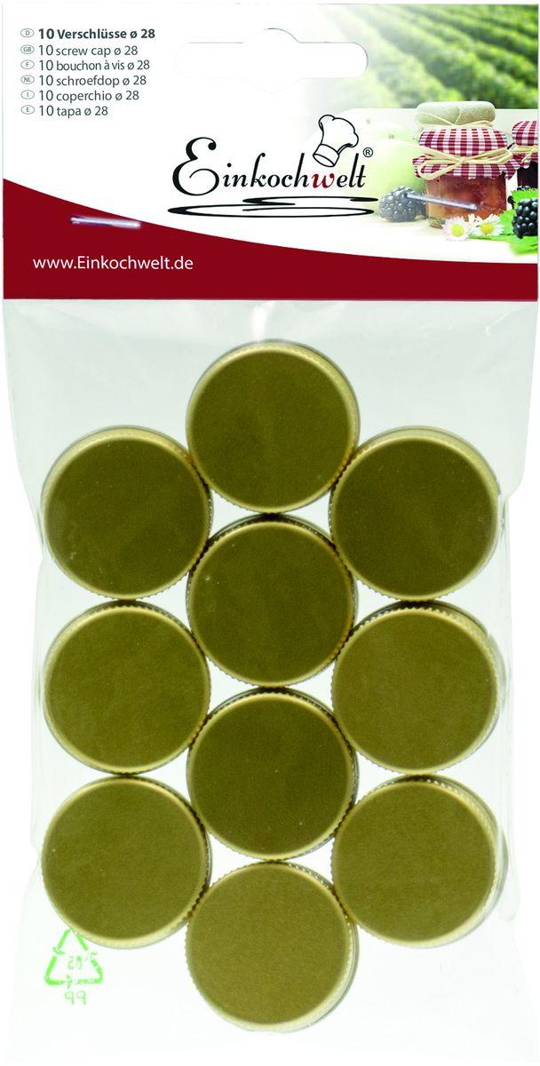 Набор крышек для бутылок Einkochwelt, 2,8 см, 10 шт. 346838346838Набор состоит из 10 винтовых крышек для бутылок диаметром 28 мм. Они предназначены для закупорки различных напитков и обеспечивают надежное хранение и качество содержимого продукта.