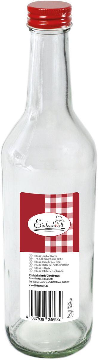 Бутылка Einkochwelt, с крышкой, 500 мл346982Стеклянная бутылка объемом 500 мл с завинчивающейся крышкой предназначена для хранения, сиропов и других домашних напитков. Такая крышка обеспечит легкость использования и герметичность сосуда, что надежно сохранит свежесть и качество вашего продукта. Оригинальная форма бутылки позволит ей стать не только полезным изделием, но и украшением интерьера вашей кухни.