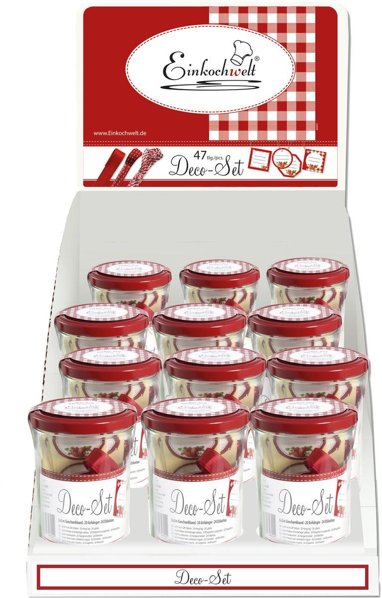 Банка для сыпучих продуктов Einkochwelt Weck, с наклейками, с лентой, 440 млVT-1520(SR)Банка для сыпучих продуктов Einkochwelt Weck изготовлена из прочного стекла и дополнена металлической крышкой. Такая модель станет незаменимым помощником на любой кухне. В ней будет удобно хранить сыпучие продукты, такие, как чай, кофе, соль, сахар, крупы, макароны и многое другое. Емкость плотно закрывается крышкой, благодаря которой дольше сохраняя аромат и свежесть содержимого. Украсив банку наклейками и лентами, вы придадите оригинальность вашему кулинарному шедевру и сможете использовать его в качестве подарка.Объем банки: 440 мл.