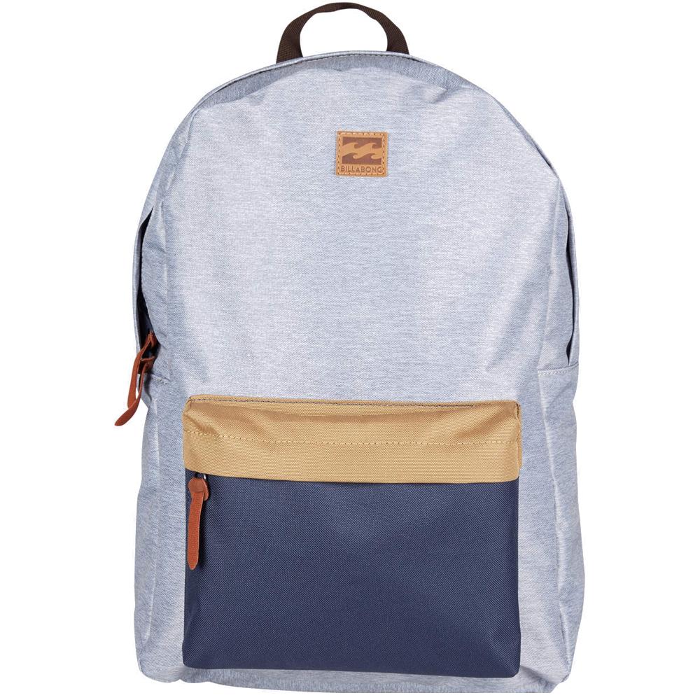 Рюкзак городской Billabong All Day Pack, цвет: серый, синий. 36078693685543607869368554Компактный городской рюкзак, объема которого вполне достаточно для повседневных потребностей. Стильные расцветки сделают этот рюкзак не только полезным аксессуаром, но и замечательным дополнением Вашего образа в целом.