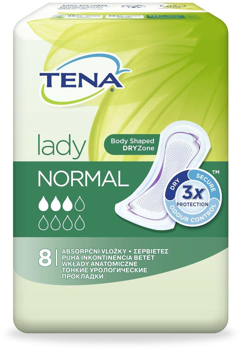 Tena Прокладки урологические Lady Normal 8 шт2-1-3-0-1Урологические прокладки Tena Lady обеспечивают тройную защиту от протеканий, влаги и запаха. Tena Lady Normal такие же незаметные, как прокладки для критических дней, но впитывают гораздо больше, обеспечивая мгновенное ощущение сухости и комфорт.Благодаря анатомической форме и технологии DRYZone прокладка повторяет изгибы тела, обеспечивая быстрое впитывание и незаметность.Система Fresh Odour Control предотвращает формирование нежелательного запаха. Мягкие эластичные резиночки по бокам обеспечивают более плотное прилегание к телу.