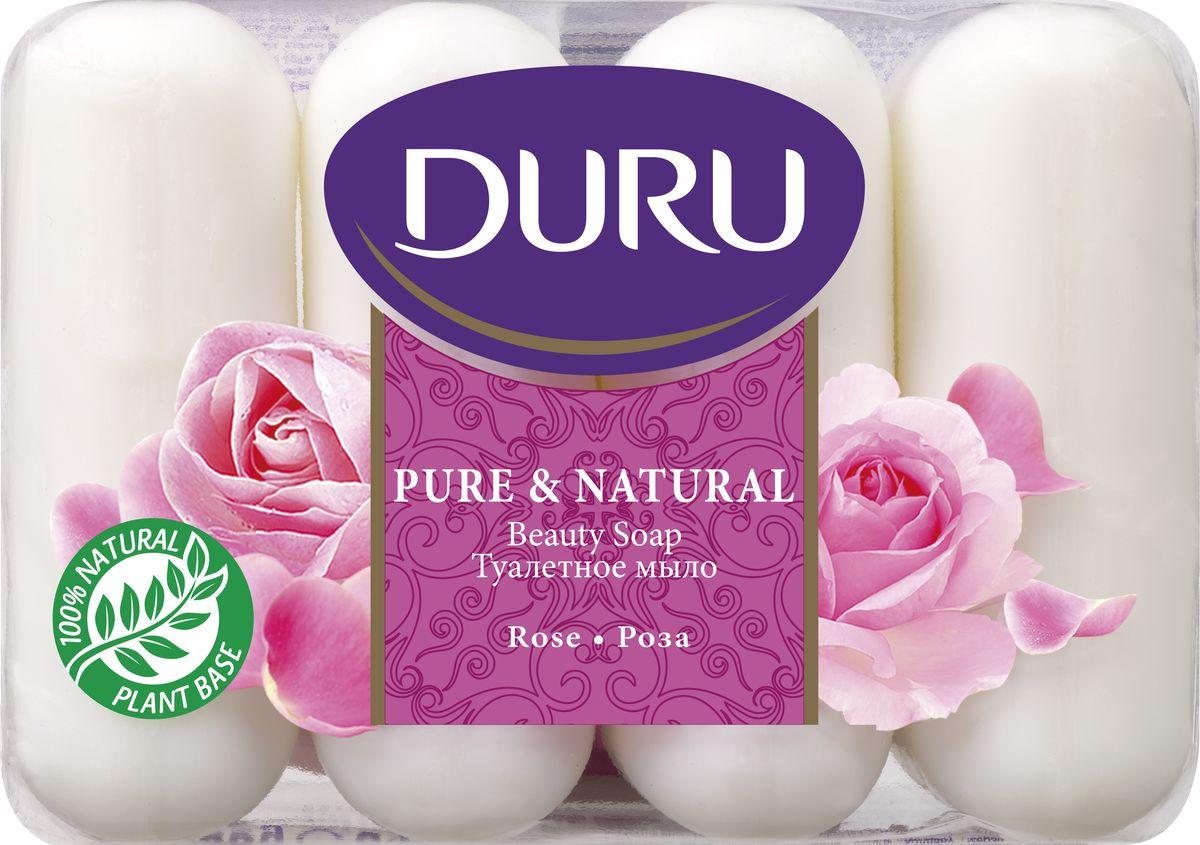 Duru Pure&NatМыло Роза э/пак 4*85г2-1-3-0-1Бережное туалетное мыло с нежными природными ароматами