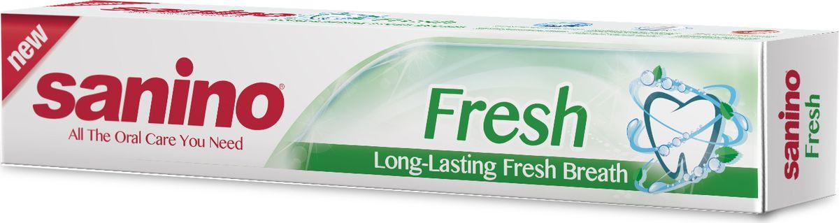 Sanino Зубная паста Fresh Длительное свежее дыхание 100мл28420_красныйЗубная паста Sanino делает улыбку светлой и здоровой благодаря освежающим компонентам в составе пасты. Sanino «Длительное свежее дыхание» - это прекрасный способ сохранить свежесть рта на весь день, а также не беспокоиться и кариесе, ведь паста предотвращает его появление.