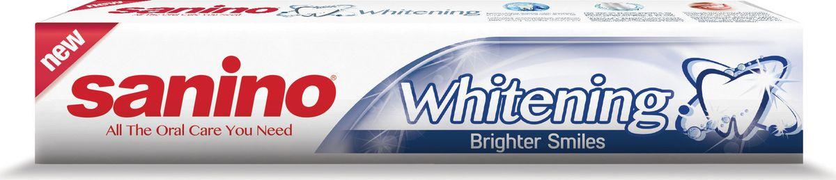 Sanino Зубная паста Whitening Белоснежная улыбка 100мл800914010Зубная паста Sanino делает улыбку светлой и здоровой благодаря отбеливающим компонентам в составе пасты. Sanino «Белоснежная улыбка» - это зубная паста с активным фтором и кальцием, восстанавливающая естественную белизну зубов.