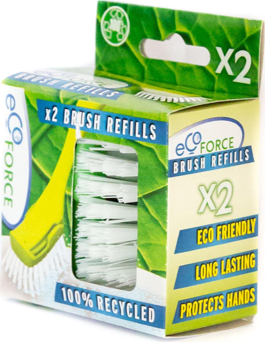Щетка для посуды EcoForce, сменный блок, 2 шт10503Сменная насадка для щетки для мытья посуды EcoForce. Назначение Идеально подходит для чистки кастрюль, сковород, противней. Преимущества Эффективно очищает посуду от любых сложных загрязнений.Не впитывает красители и жир.Защищает руки и ногти от горячей мыльной воды.Изготовлена из переработанного сырья.Прочная щетина снижает усилия при мытье сильно загрязненных поверхностей, не впитывает красители и жир.