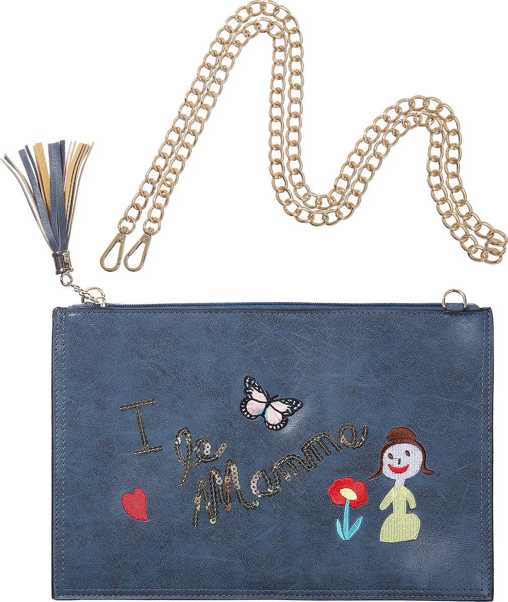 Клатч Модные истории, цвет: темно-синий. 3/0263BP-001 BKМолодежный прямоугольный клатч выполнен из искусственной кожи, закрывается на молнию. Декорирован вышивкой, надписью из пайеток и косточкой на замке молнии. Внутри один карман на молнии. Имеется металлический ремешок, который позволит носить клатч на плече.