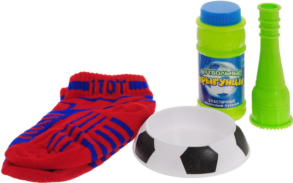 1TOY Мыльные пузыри Футбольные прыгунцы цвет носков красный 80 мл Т59341_носки красные
