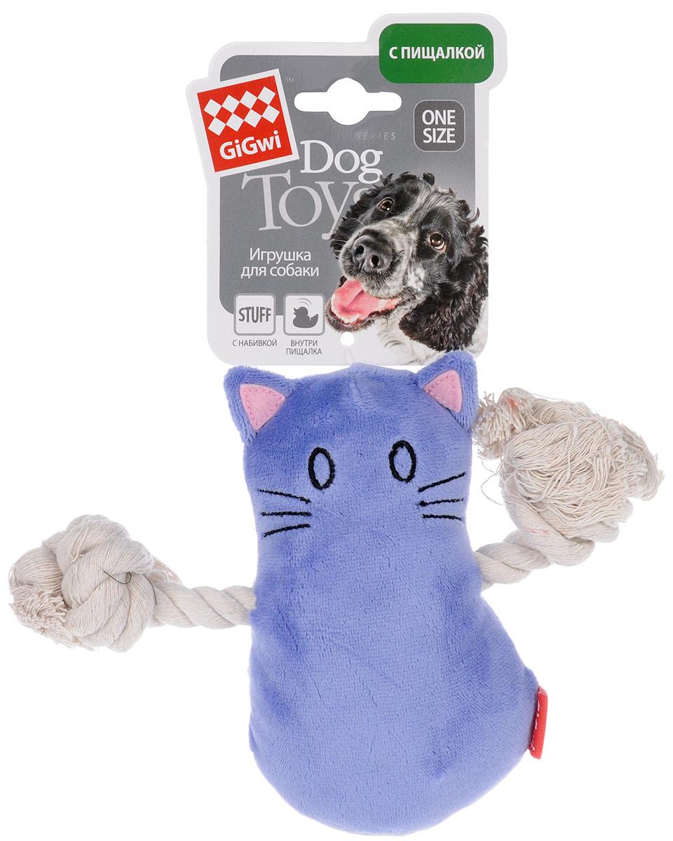 Игрушка для собак GiGwi Кот, с пищалкой, длина 14 см. 7503475034Игрушка для собак GiGwi Кот выполнена из текстиля и дополнена набивкой. Игрушка подходит для активной игры. Материал не ранит зубы. Игрушка оснащена пищалкой.